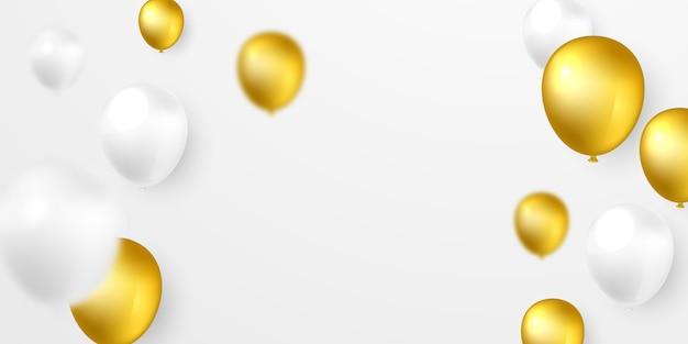 Pomysł na projekt balonu z helem w kolorze białym i złotym pięknie zaaranżowany na różne uroczystości