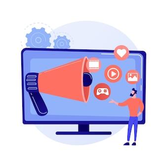 Pomysł na reklamy internetowe. usługa przetwarzania w chmurze. bezpośrednie wiadomości. komunikacja sieciowa. reklama wirusowa, marketing treści, promocja w sieciach społecznościowych. ilustracja wektorowa na białym tle koncepcja metafora