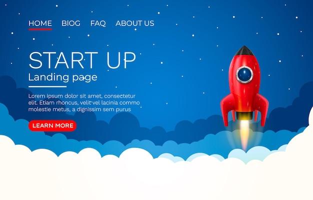 Pomysł na start ekran strony docelowej, technologia rozwoju, rakieta.