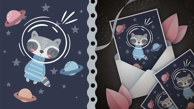 Pomysł na szopa kosmicznego na kartkę z życzeniami