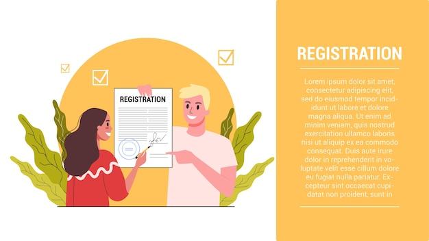 Pomysł na uruchomienie kroków. baner internetowy dotyczący rejestracji nowej firmy. proces budowania marki. solated