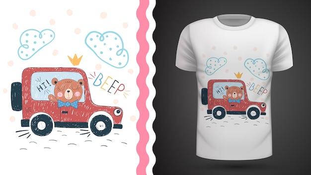 Pomysł niedźwiedzia i samochodu na koszulkę z nadrukiem