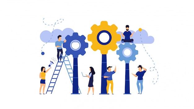 Pomysł praca z przekładni pojęcia biznesową kreatywnie ilustracją. mężczyzna i kobieta projektują sukces innowacji