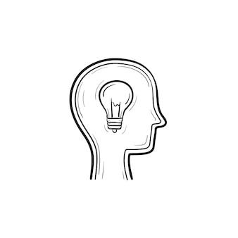 Pomysł ręcznie rysowane konspektu doodle ikona. żarówka w głowie człowieka pokazujący koncepcję pomysłu szkic ilustracji do druku, sieci web, mobile i infografiki na białym tle.