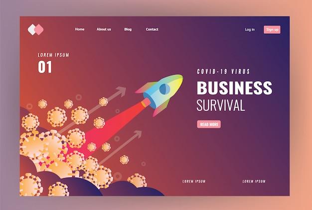 Pomysł strony docelowej strony internetowej o zwycięstwie nad wirusem covid-19 i koncepcji przetrwania biznesu. uruchomienie rakiety przez wirusa. ilustracja płaska konstrukcja