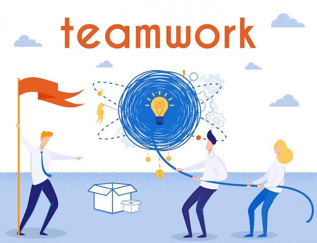 Pomysł stworzenia, praca zespołowa i plakat przywództwa