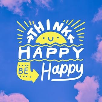 Pomyśl szczęśliwe pozytywne litery i słońce