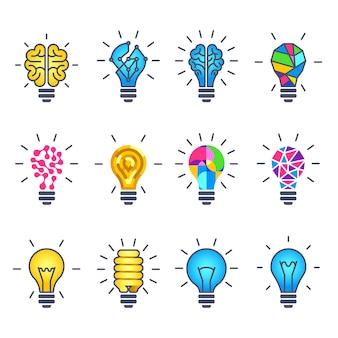 Pomysł żarówki, kreatywne ikony