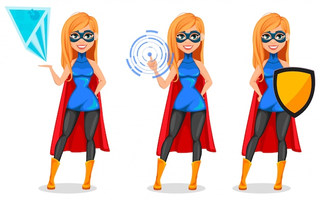 Pomyślna kobieta jest ubranym superbohatera kostium