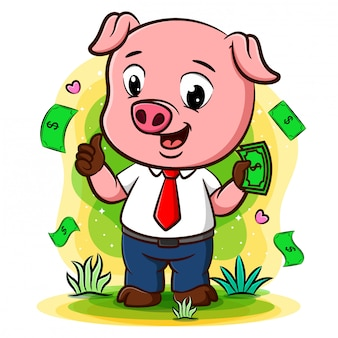 Pomyślna świniowata biznesmen charakteru pozycja pod pieniądze deszczem
