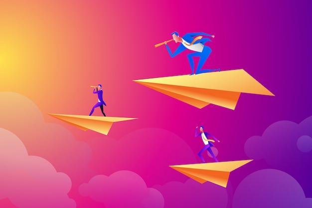 Pomyślny biznesmen latający na papierowym samolocie