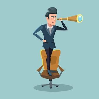 Pomyślny biznesmen patrzeje spyglass. perspektywa biznesowa.