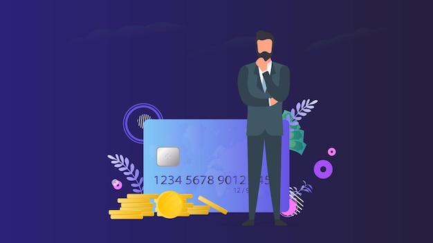 Pomyślny biznesmen z pieniędzmi. karta kredytowa, złote monety, dolary.
