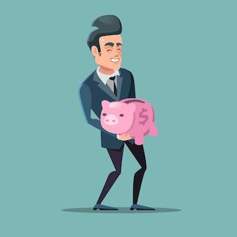 Pomyślny biznesmen z różową skarbonką. oszczędzać pieniądze.