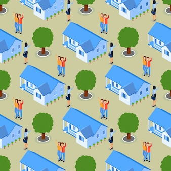 Pomyślny nieruchomości real estate bezszwowy wzór.