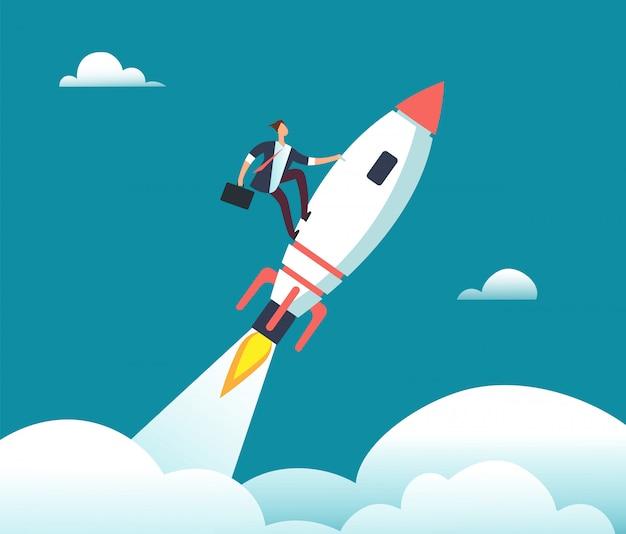 Pomyślny szczęśliwy biznesmena latanie na rakiecie cel. przywództwo, uruchomienie, wzrost i możliwości koncepcja kreskówka biznes wektor