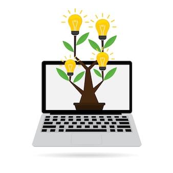 Pomysłu drzewo z pomysł żarówką na komputerowym pojęciu