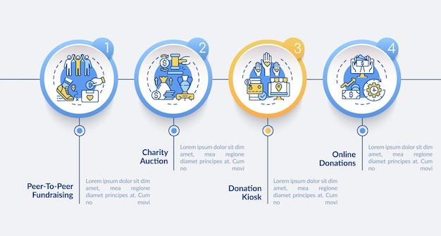 Pomysły na imprezy charytatywne wektor infografika szablon. prezentacja online darowizn zarys elementów projektu. wizualizacja danych w 4 krokach. wykres informacyjny osi czasu procesu. układ przepływu pracy z ikonami linii