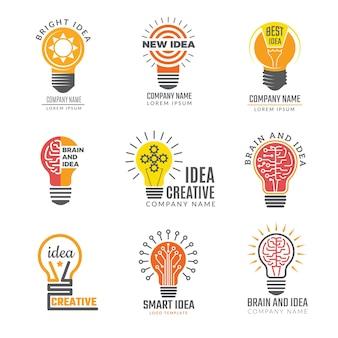 Pomysły na logotypy żarówki. kolorowe kreatywne lampy w kształcie inteligentnych symboli potężne logotypy.