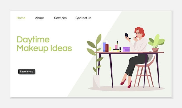 Pomysły na makijaż dzienny szablon wektor strony docelowej. profesjonalny pomysł na interfejs strony internetowej dla kursów kosmetycznych z płaskimi ilustracjami. układ strony głównej kosmetologii. tworzą kreskówkowy baner internetowy, strona internetowa