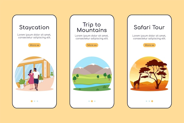 Pomysły na wakacje letnie dołączanie szablonu płaski wektor ekranu aplikacji mobilnej. strona z przewodnikiem 3 kroki z krajobrazami. kreatywne miejsca docelowe ux, ui, graficzny interfejs smartfona gui, zestaw nadruków na etui