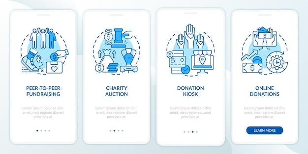 Pomysły na wydarzenia charytatywne na stronie startowej aplikacji mobilnej. przewodnik po sprzedaży charytatywnej 4 kroki graficzne instrukcje z koncepcjami. szablon wektorowy ui, ux, gui z liniowymi kolorowymi ilustracjami