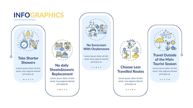 Pomysły na zrównoważoną turystykę wektor infografikę szablon. weź krótsze elementy projektu prezentacji pryszniców. wizualizacja danych w 5 krokach. wykres osi czasu procesu. układ przepływu pracy z ikonami liniowymi