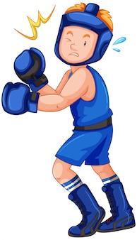 Poncz uderzenie boksera na białym tle