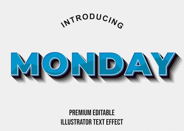 Poniedziałek - efekt tekstowy 3d blue bold illustrator