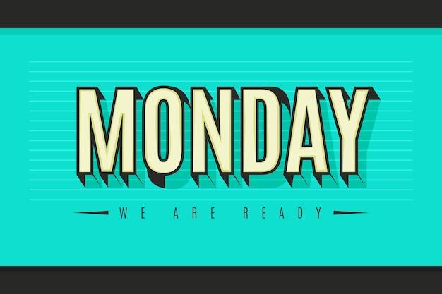 Poniedziałek miłego dnia na niebieskim tle