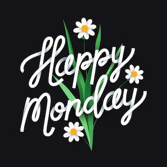 Poniedziałek napis z kwiatami