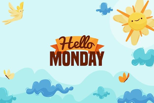 Poniedziałek tło słońce i niebo