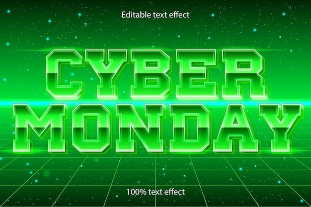 Poniedziałkowy edytowalny efekt tekstowy retro w nowoczesnym stylu
