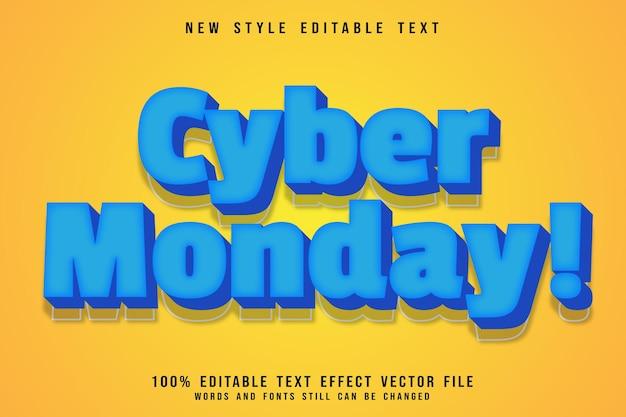 Poniedziałkowy edytowalny efekt tekstowy wytłoczony w nowoczesnym stylu