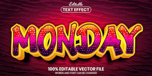 Poniedziałkowy tekst, edytowalny efekt tekstowy w stylu czcionki