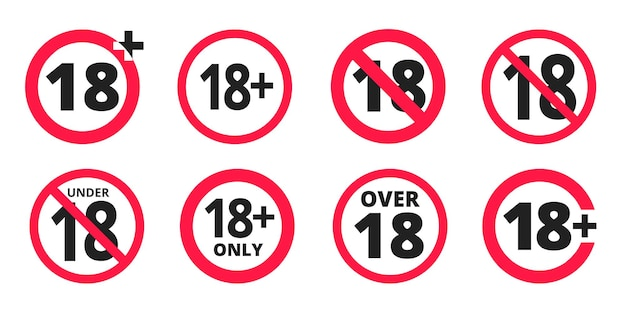 Poniżej 18 zabronione okrągłe ikony znak wektor zestaw ilustracji