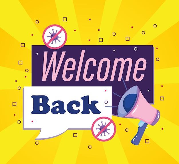 Ponowne otwarcie witamy z powrotem ilustracji marketingu i reklamy biznesu