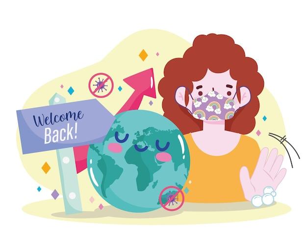 Ponowne otwarcie witamy z powrotem kobietę z ilustracją ochrony maski