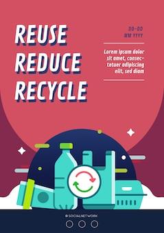 Ponowne użycie zmniejsza układ plakatów kampanii recyklingowej