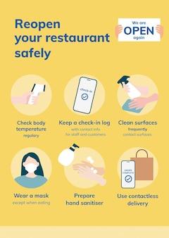 Ponownie otwórz biznesowy wektor szablonu covid 19, plakat ze wskazówkami dotyczącymi środków bezpieczeństwa