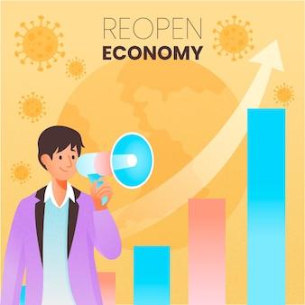 Ponownie otwórz ekonomię po zilustrowaniu koronawirusa