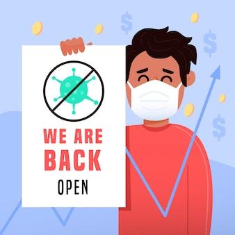 Ponownie Otwórz Gospodarkę Po Koronawirusie Darmowych Wektorów