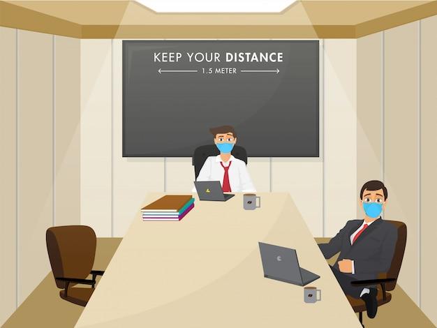 Ponownie otwórz office concept po pandemii z zachowaniem społecznego komunikatu o odległości.
