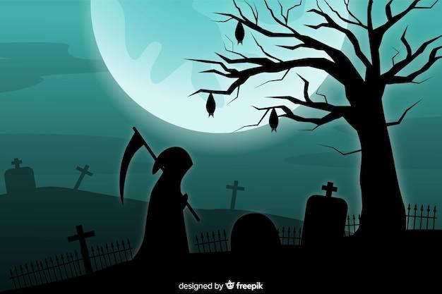 Ponury żniwiarz i księżyc w pełni na tle cmentarza