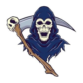 Ponury żniwiarz logo z koncepcją ilustracji schyte