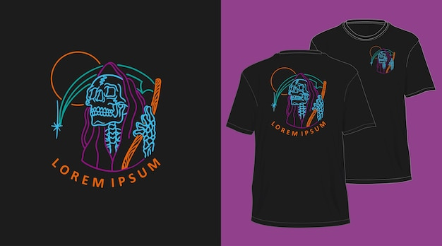Ponury żniwiarz neon monoline ręcznie rysowane projekt koszulki