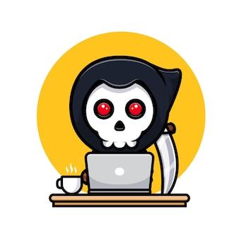 Ponury żniwiarz pracuje online z domu. uroczy