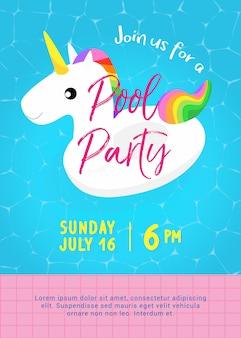 Pool party plakat szablon. śliczny pływak basen jednorożca