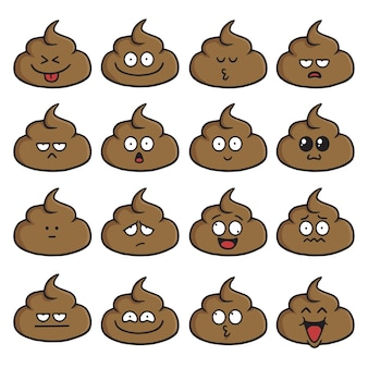 Poop face cute cartoon set vector illustration pack collection
