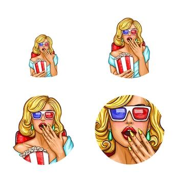 Pop art awatar, ikona pin up sexy girl w 3d okulary wewnątrz kina z popcornem.